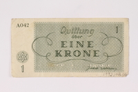 1992.108.1 back Theresienstadt ghetto-labor camp scrip, 1 krone note  Click to enlarge