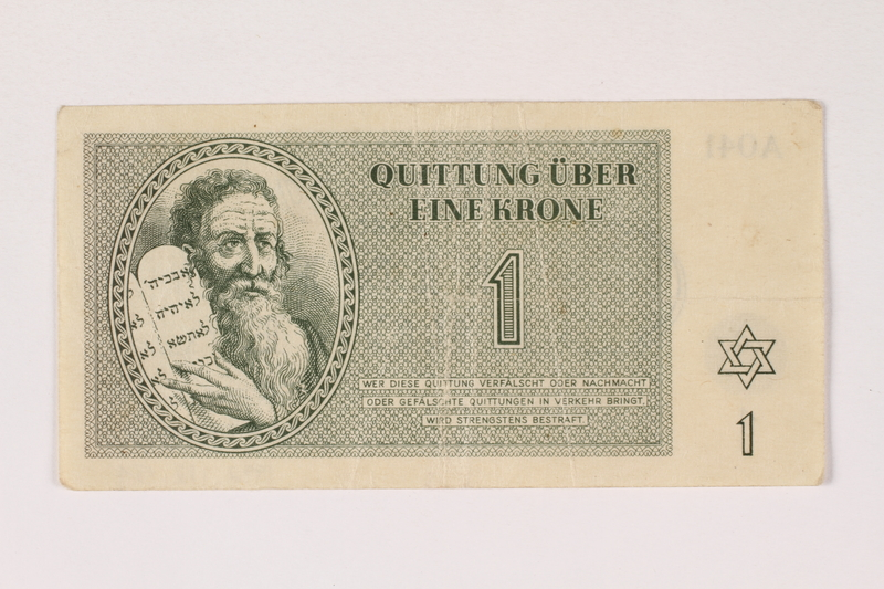 1992.112.54 front Theresienstadt ghetto-labor camp scrip, 1 krone note