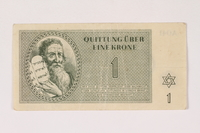 1992.112.54 front Theresienstadt ghetto-labor camp scrip, 1 krone note  Click to enlarge