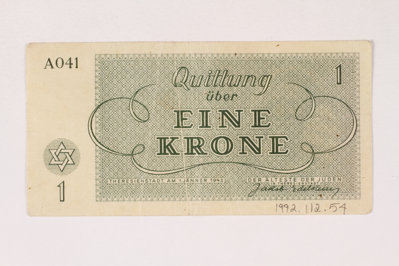 1992.112.54 back Theresienstadt ghetto-labor camp scrip, 1 krone note