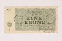 1992.112.54 back Theresienstadt ghetto-labor camp scrip, 1 krone note  Click to enlarge