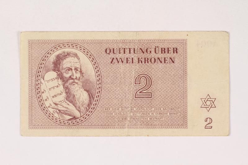 1992.112.55 front Theresienstadt ghetto-labor camp scrip, 2 kronen note