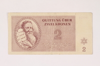 1992.112.55 front Theresienstadt ghetto-labor camp scrip, 2 kronen note  Click to enlarge