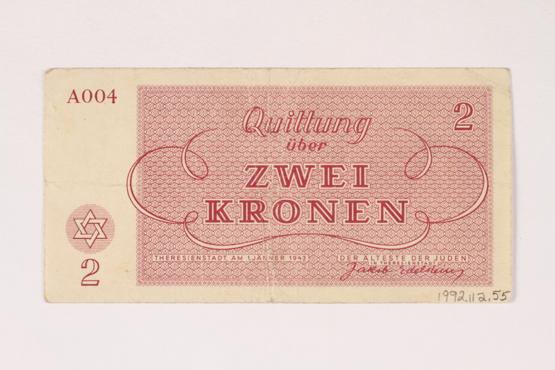 1992.112.55 back Theresienstadt ghetto-labor camp scrip, 2 kronen note