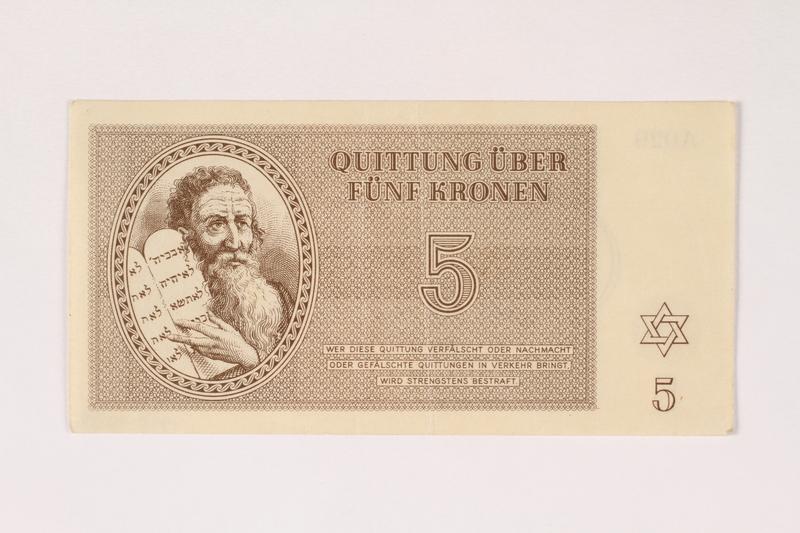 1992.112.56 front Theresienstadt ghetto-labor camp scrip, 5 kronen note