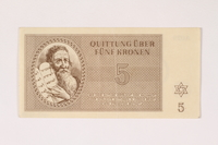 1992.112.56 front Theresienstadt ghetto-labor camp scrip, 5 kronen note  Click to enlarge