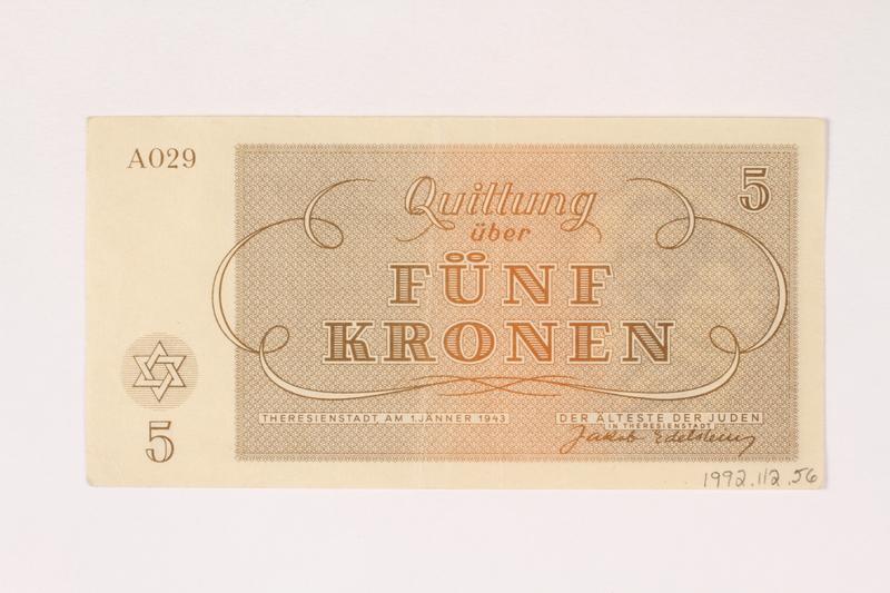 1992.112.56 back Theresienstadt ghetto-labor camp scrip, 5 kronen note