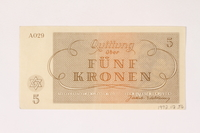 1992.112.56 back Theresienstadt ghetto-labor camp scrip, 5 kronen note  Click to enlarge