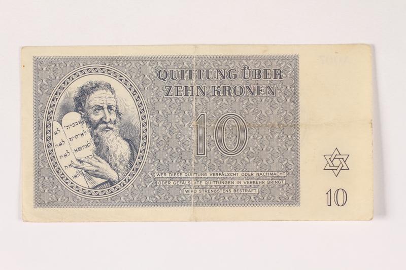 1992.112.57 front Theresienstadt ghetto-labor camp scrip, 10 kronen note