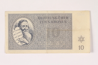 1992.112.57 front Theresienstadt ghetto-labor camp scrip, 10 kronen note  Click to enlarge