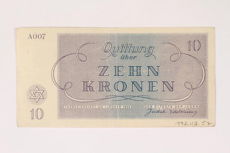 1992.112.57 back Theresienstadt ghetto-labor camp scrip, 10 kronen note
