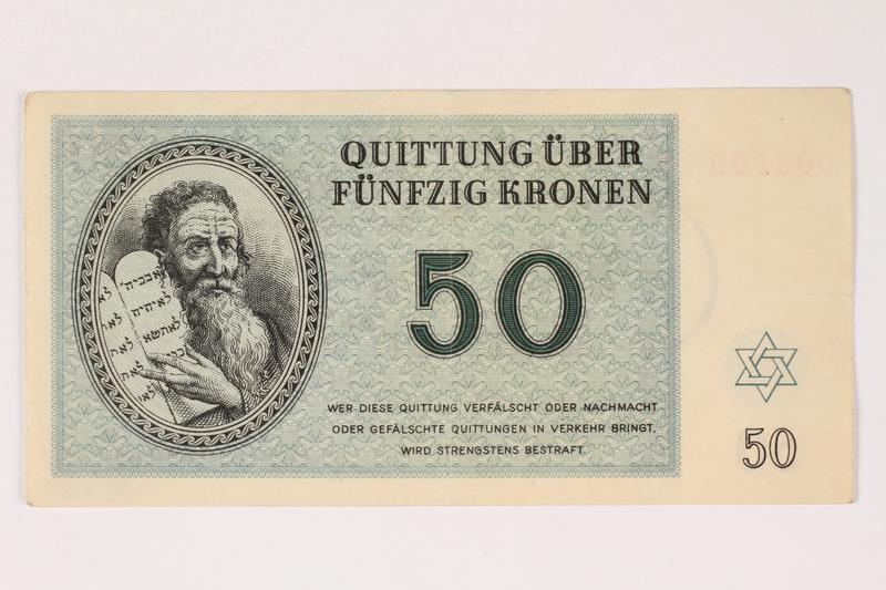 1992.112.59 front Theresienstadt ghetto-labor camp scrip, 50 kronen note