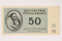 1992.112.59 front Theresienstadt ghetto-labor camp scrip, 50 kronen note  Click to enlarge