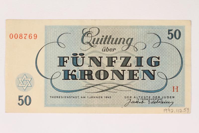 1992.112.59 back Theresienstadt ghetto-labor camp scrip, 50 kronen note