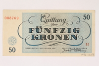 1992.112.59 back Theresienstadt ghetto-labor camp scrip, 50 kronen note  Click to enlarge