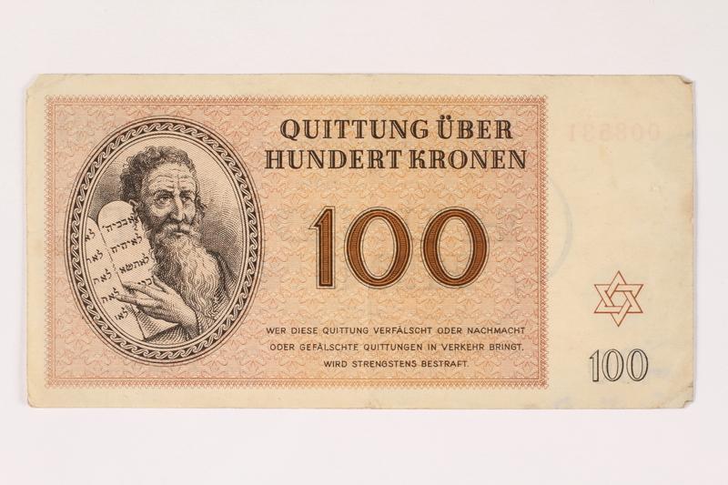 1992.112.60 front Theresienstadt ghetto-labor camp scrip, 100 kronen note