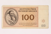 1992.112.60 front Theresienstadt ghetto-labor camp scrip, 100 kronen note  Click to enlarge