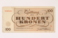 1992.112.60 back Theresienstadt ghetto-labor camp scrip, 100 kronen note  Click to enlarge