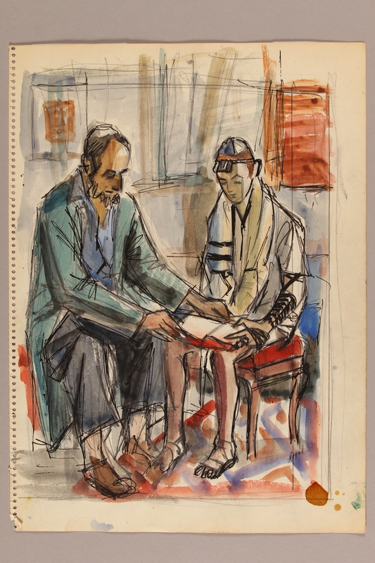 1992.113.1 front Albert Dov Sigal watercolor sketch of a boy in tallit and tefillin receiving religious instruction with a rough pencil sketch on the reverse