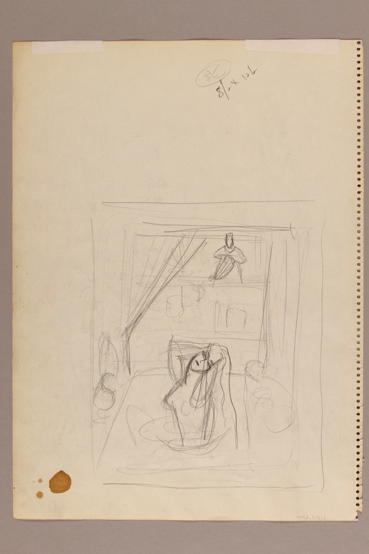 1992.113.1 back Albert Dov Sigal watercolor sketch of a boy in tallit and tefillin receiving religious instruction with a rough pencil sketch on the reverse