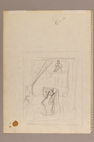 1992.113.1 back Albert Dov Sigal watercolor sketch of a boy in tallit and tefillin receiving religious instruction with a rough pencil sketch on the reverse  Click to enlarge