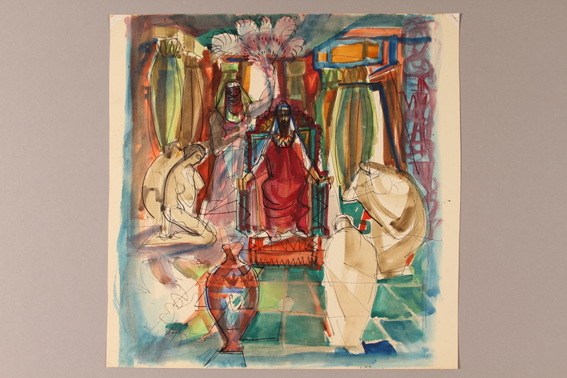 1992.113.10 front Albert Dov Sigal unfinished watercolor sketch of a king in red robes seated on his throne in an ornately decorated and colored interior