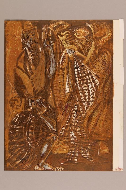 1992.113.11 front Albert Dov Sigal gouache and gold leaf painting of a seated man gazing at a large golden lion and another man with his finger raised in admonishment