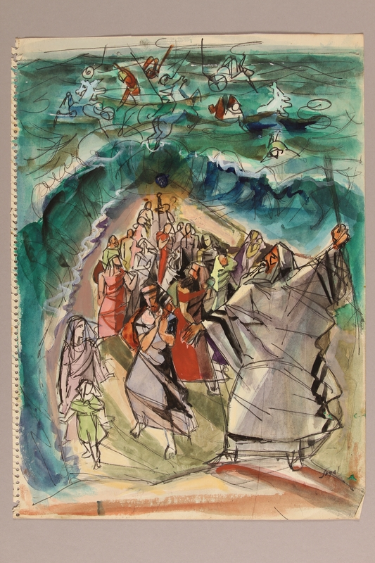 1992.113.12 front Albert Dov Sigal watercolor sketch of a bearded man leading one group of people through a parted sea while others float away