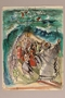 Albert Dov Sigal watercolor sketch of a bearded man leading one group of people through a parted sea while others float away