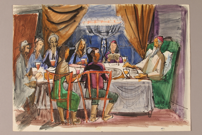 1992.113.13 front Albert Dov Sigal watercolor sketch of a bearded man in a green chair and a family seated around a Passover table with a pencil sketch on the reverse