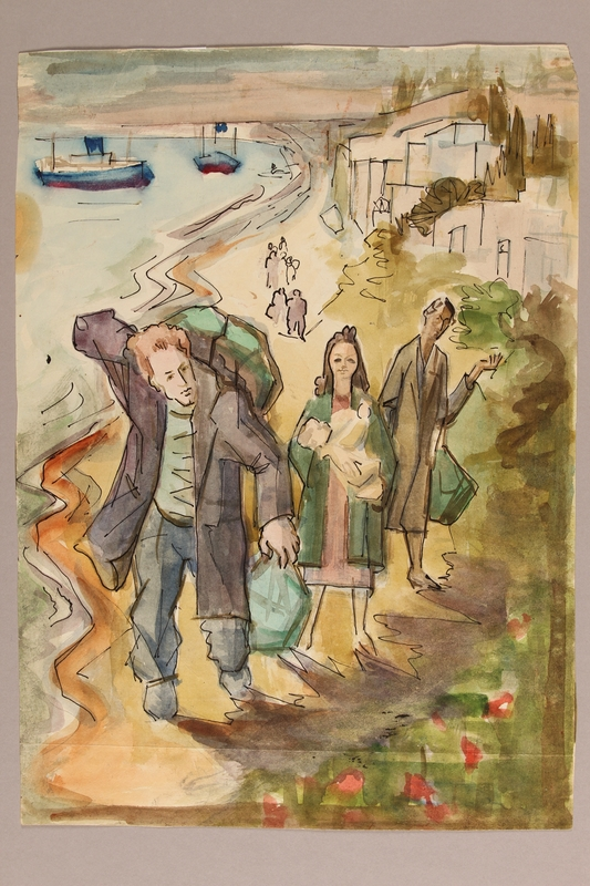 1992.113.14 front Albert Dov Sigal muted watercolor painting of a young woman, holding an infant, walking with her family on a seaside road based upon his arrival in Palestine