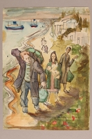1992.113.14 front Albert Dov Sigal muted watercolor painting of a young woman, holding an infant, walking with her family on a seaside road based upon his arrival in Palestine  Click to enlarge