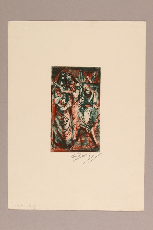 1992.113.15 front Albert Dov Sigal small red and green colored etching of a couple standing with heads touching next to a seated dejected man with a crown