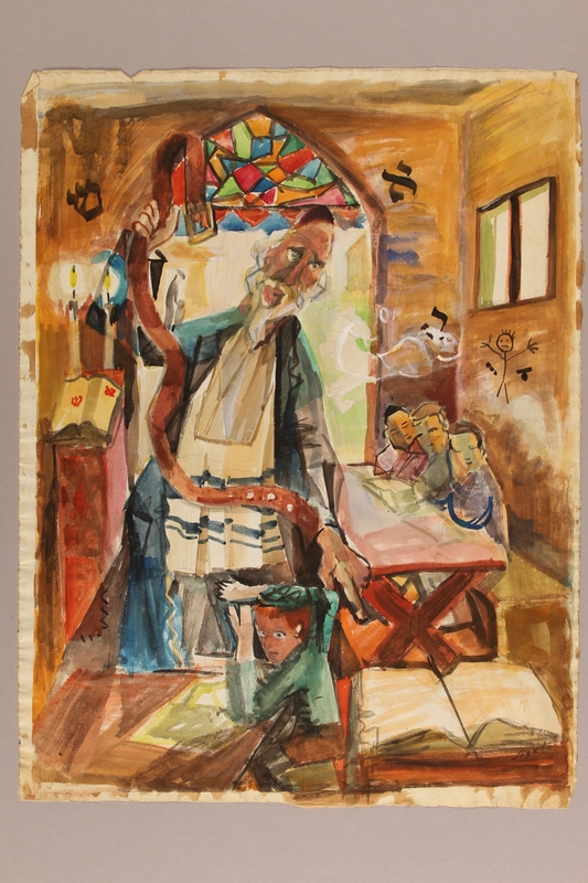 1992.113.16 front Albert Dov Sigal gouache painting of a yeshiva class with a teacher preparing to punish 1 terrified boy with a comically long belt as 3 watch