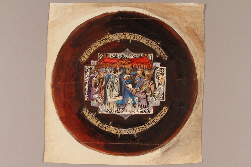 1992.113.2 front Albert Dov Sigal watercolor painting of a circular brown plate with a scene of a bride and groom standing in front of a rabbi under a red fringed chuppah