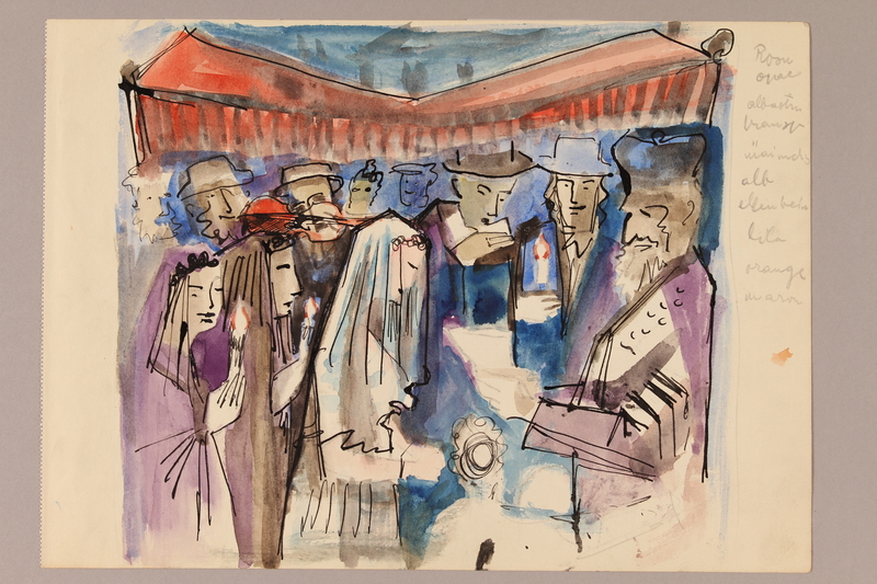 1992.113.3 front Albert Dov Sigal watercolor sketch of a rabbi with a bridal couple under an orange chuppah with guests holding lit candles with a rough pencil sketch on the reverse