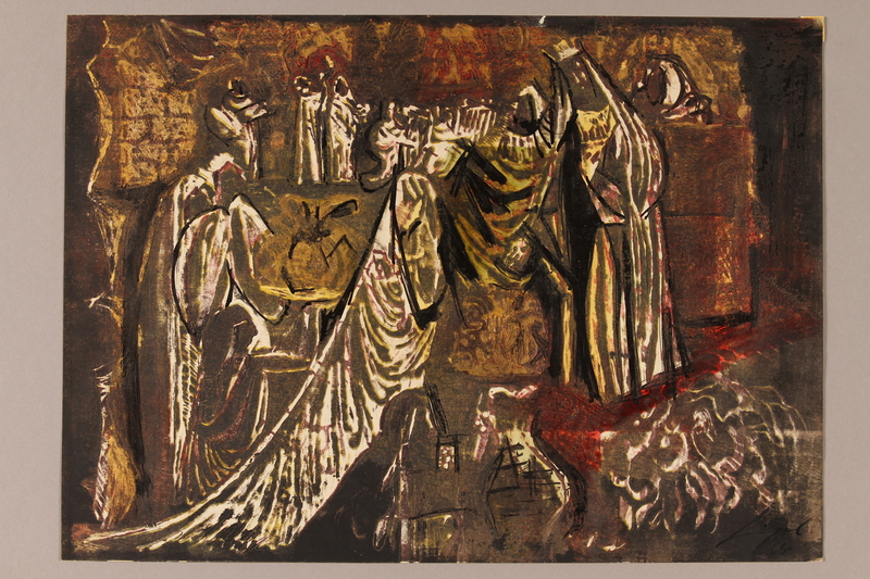 1992.113.4 front Albert Dov Sigal woodcut richly colored in white and golden browns featuring a woman in a heavy white robe presenting gifts to a king