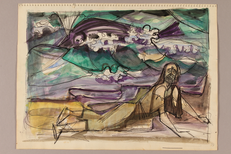 1992.113.5 front Albert Dov Sigal watercolor sketch of a man in tattered clothes with a large green and purple fish floating above with a pencil sketch on the reverse