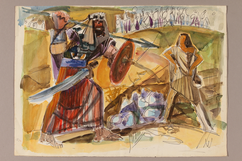 1992.113.6 front Albert Dov Sigal watercolor of a giant man with a shield, sword, and spear threatening an unarmed youth