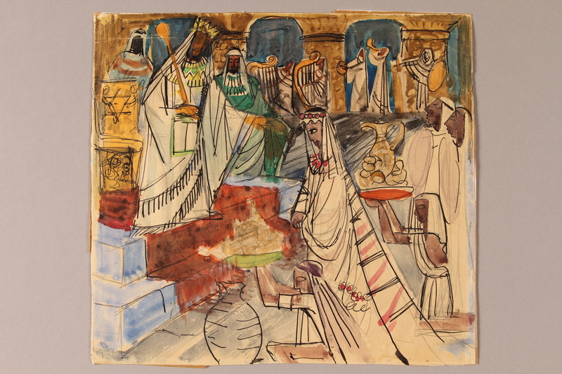 1992.113.8 front Albert Dov Sigal watercolor sketch of a woman in a headdress and gown attended by servants offering gifts to a king with a scepter