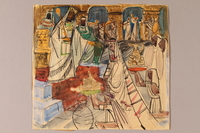 1992.113.8 front Albert Dov Sigal watercolor sketch of a woman in a headdress and gown attended by servants offering gifts to a king with a scepter  Click to enlarge