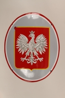 1992.119.1 front Red and silver enamel sign featuring the Polish Imperial eagle emblem  Click to enlarge