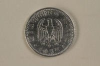 1992.122.4 back Nazi Germany, 50 reichspfennig coin found by an American soldier/liberator  Click to enlarge