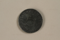 1992.122.5 front Nazi Germany, 5 reichspfennig coin found in a liberated camp by an American soldier  Click to enlarge