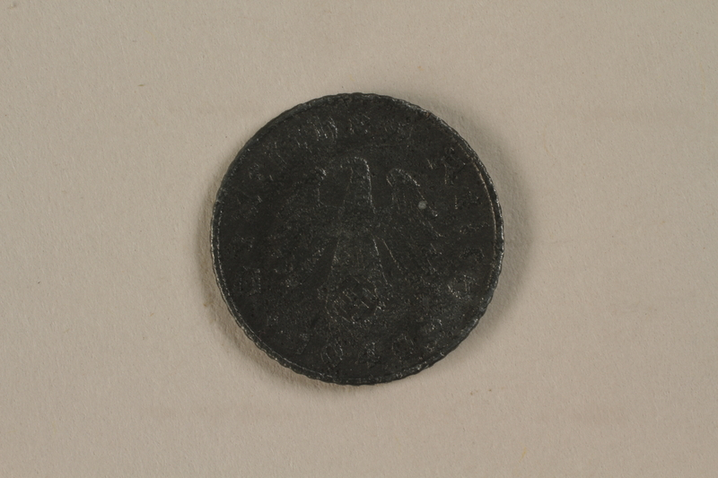 1992.122.5 back Nazi Germany, 5 reichspfennig coin found in a liberated camp by an American soldier
