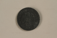 1992.122.5 back Nazi Germany, 5 reichspfennig coin found in a liberated camp by an American soldier  Click to enlarge