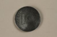 1992.122.7 front Nazi Germany, 10 reichspfennig coin found in a liberated camp by an American soldier  Click to enlarge
