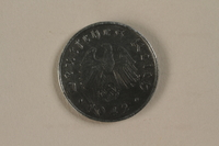 1992.122.7 back Nazi Germany, 10 reichspfennig coin found in a liberated camp by an American soldier  Click to enlarge