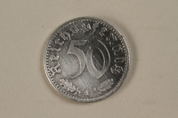 1992.122.8 front Nazi Germany, 50 reichspfennig coin found in a liberated camp by an American soldier  Click to enlarge
