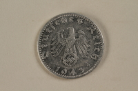 1992.122.8 back Nazi Germany, 50 reichspfennig coin found in a liberated camp by an American soldier  Click to enlarge